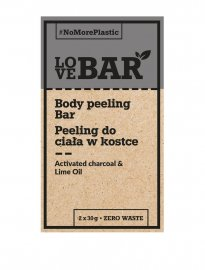 LoveBAR Body scrub charcoal lime peeling aktivt kol