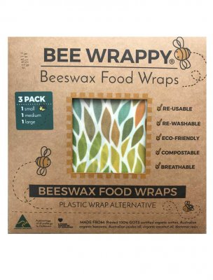 Bee Wrappy Food wraps / Naturlig folie, 3-pack