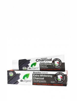 Dr Organic extra whitening toothpaste tandkräm activated charcoal aktivt kol
