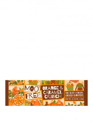 Moo free choklad mjölkfri vegan glutenfri chocolate bar orange caramel crunch