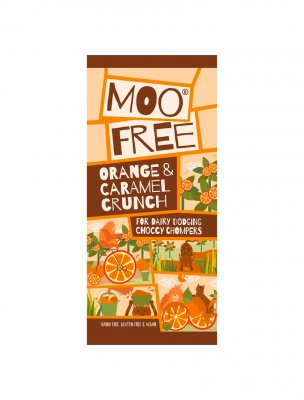 Moo free choklad mjölkfri vegan glutenfri chocolate orange caramel crunch