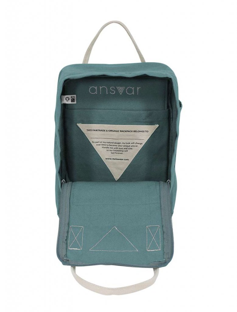 Ekologisk ryggsäck Ansvar II, petrol från Melawear